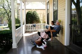 sitting on a porch